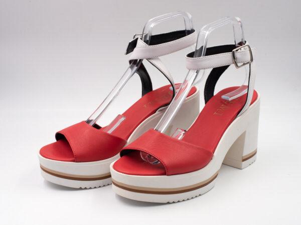 Sandalo donna pelle colore rosso e bianco
