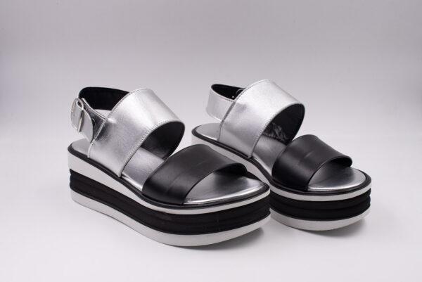 Sandalo donna - pelle colore Nero+lam.argento Fondo bicolor nero/bianco