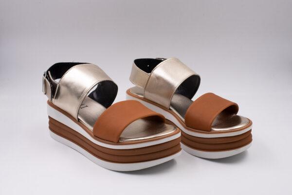 Sandalo donna - pelle colore Cuoio+lam.platino Fondo bicolor cuoio/bianco