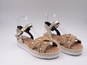 Sandalo donna pelle lam platino+col24 Fondo treccia