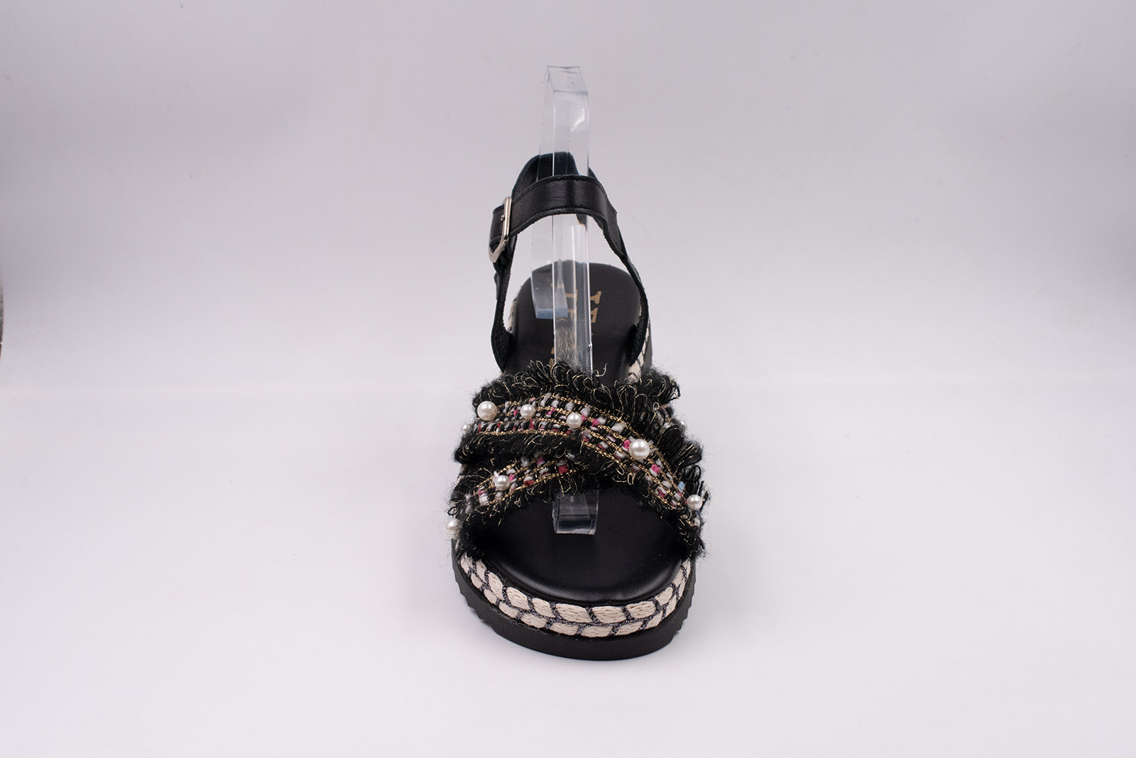 Sandalo donna pelle nero+col.02 Fondo treccia