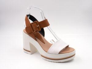 Sandalo donna pelle colore cuoio+bianco