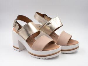 Sandalo donna pelle colore platino+dune